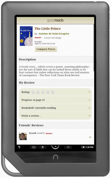 Goodreads Blog Post: Goodreads on your NOOK Color