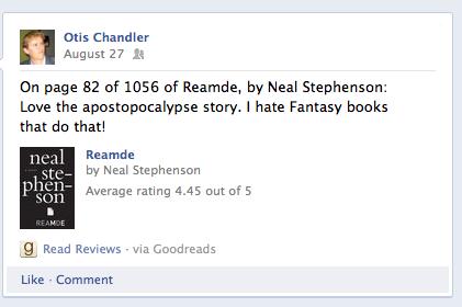 Reading Reamde on Facebook