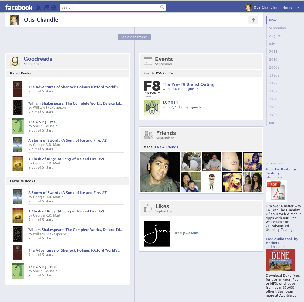 A Peek at Goodreads Integration on Facebook Timeline