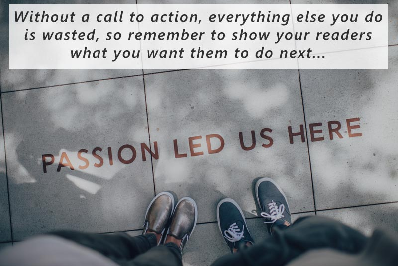 Without a call to action, everything else you do on your photographer bio is wasted. so remember to show your readers what you want them to do next...