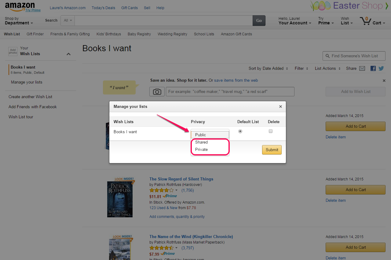 AMAZON WISH LIST HOW TO BUY PRIVATE