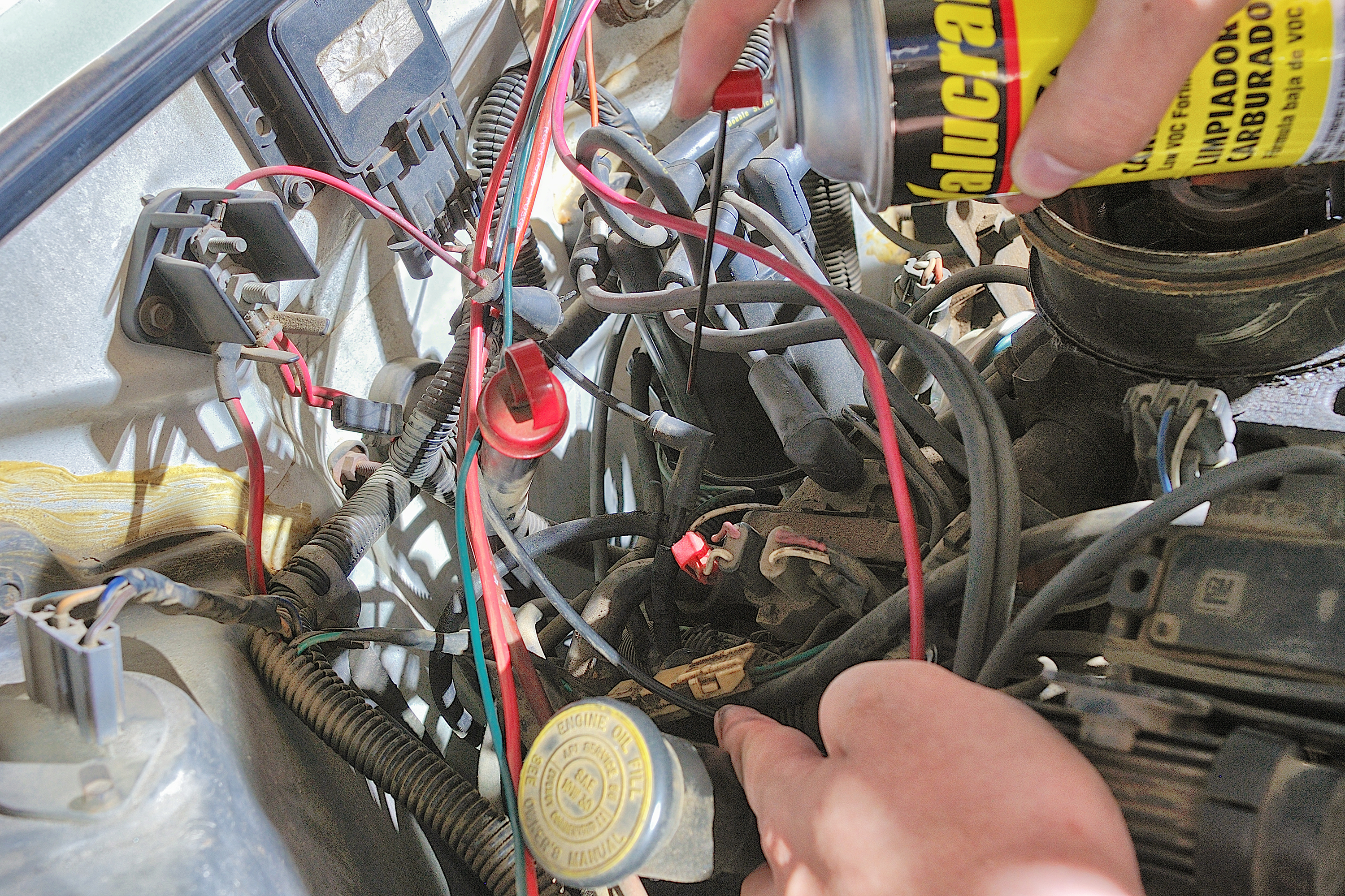 spray the carburetor cleaner lightly all along the vacuum lines if you  cannot pinpoint the hissing sound  do not oversaturate the lines with the  carburetor