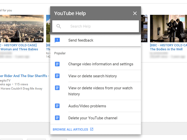 YouTube Help Screen