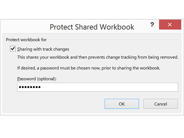 Enter a password to protect a shared workbook.