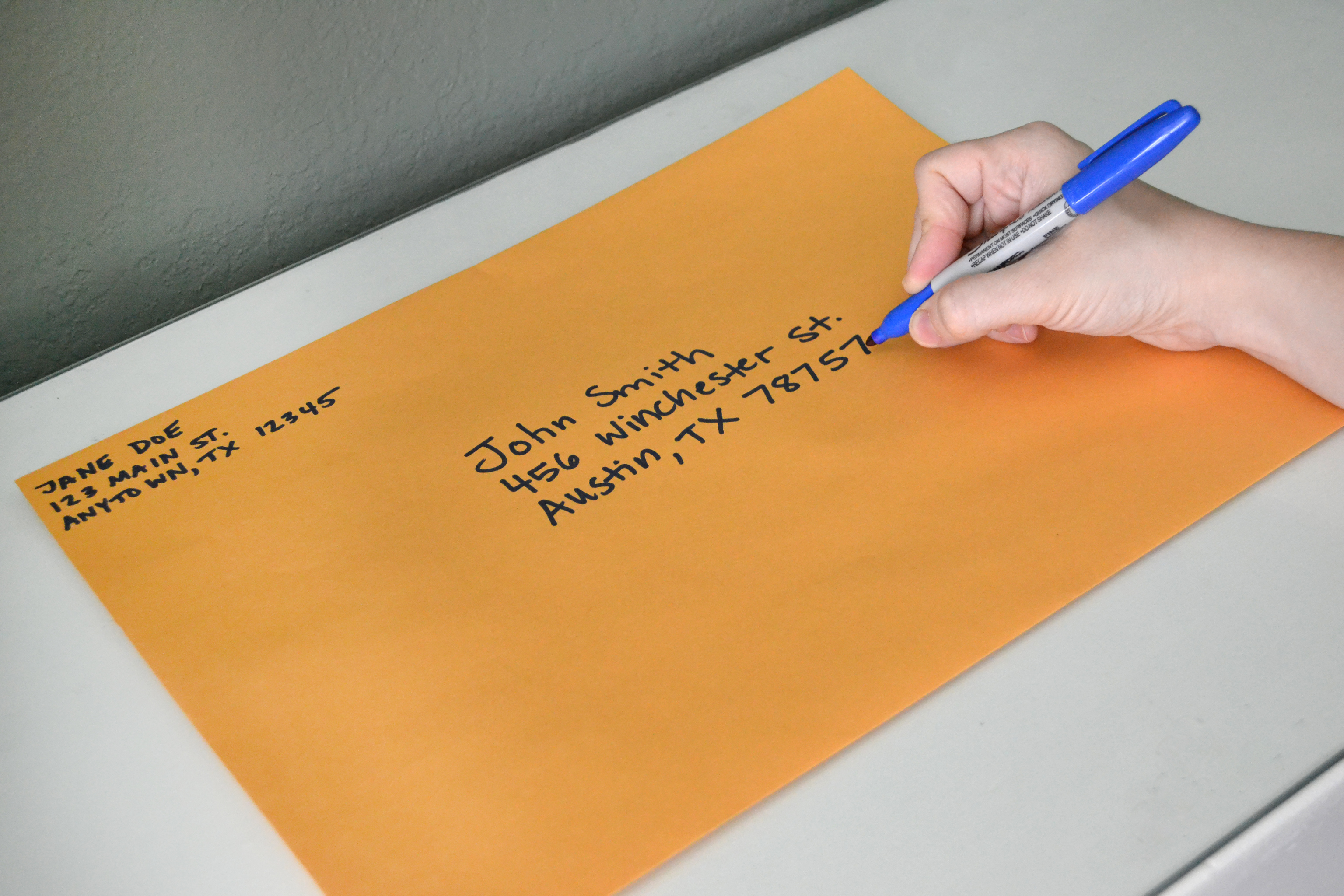 where to put the stamp on an envelope
