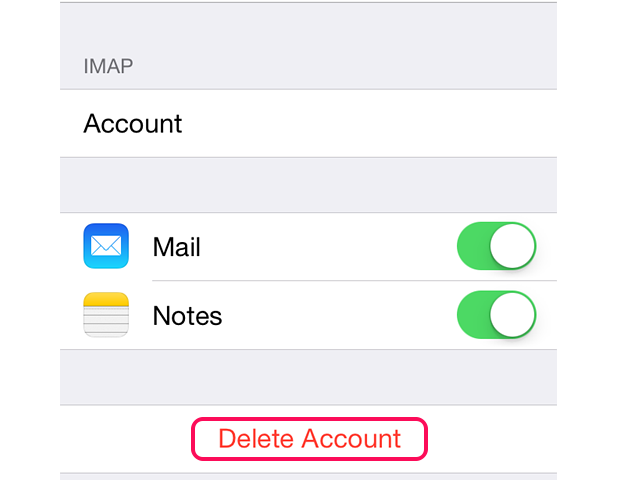 Select Delete Account on the email account's menu screen.