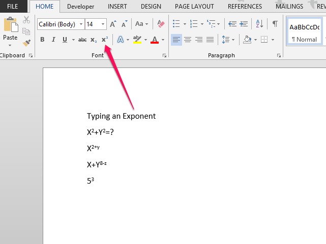 How to write an exponent in microsoft word