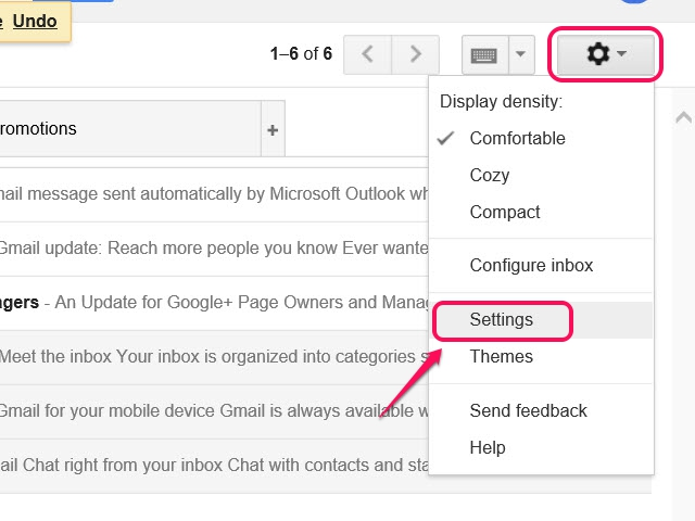 The Gmail Settings toolbar.