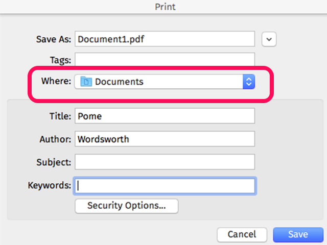 Yosemite's Print as PDF window