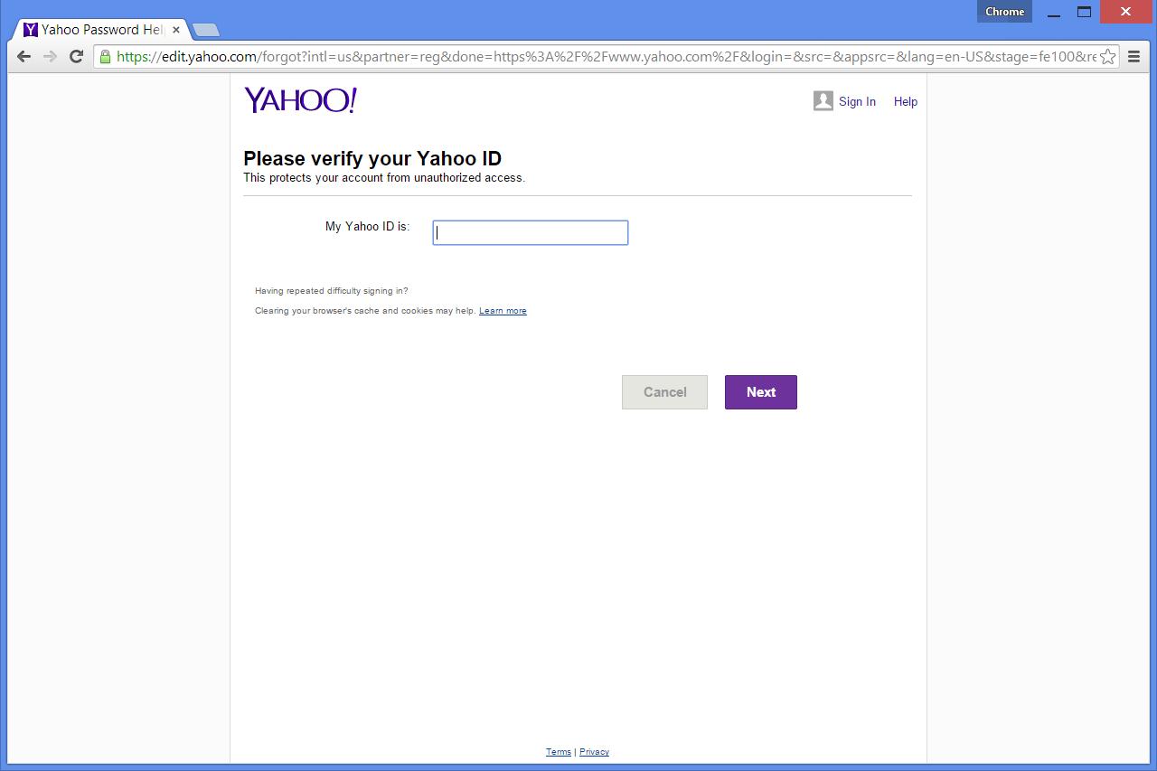 yahoo com password