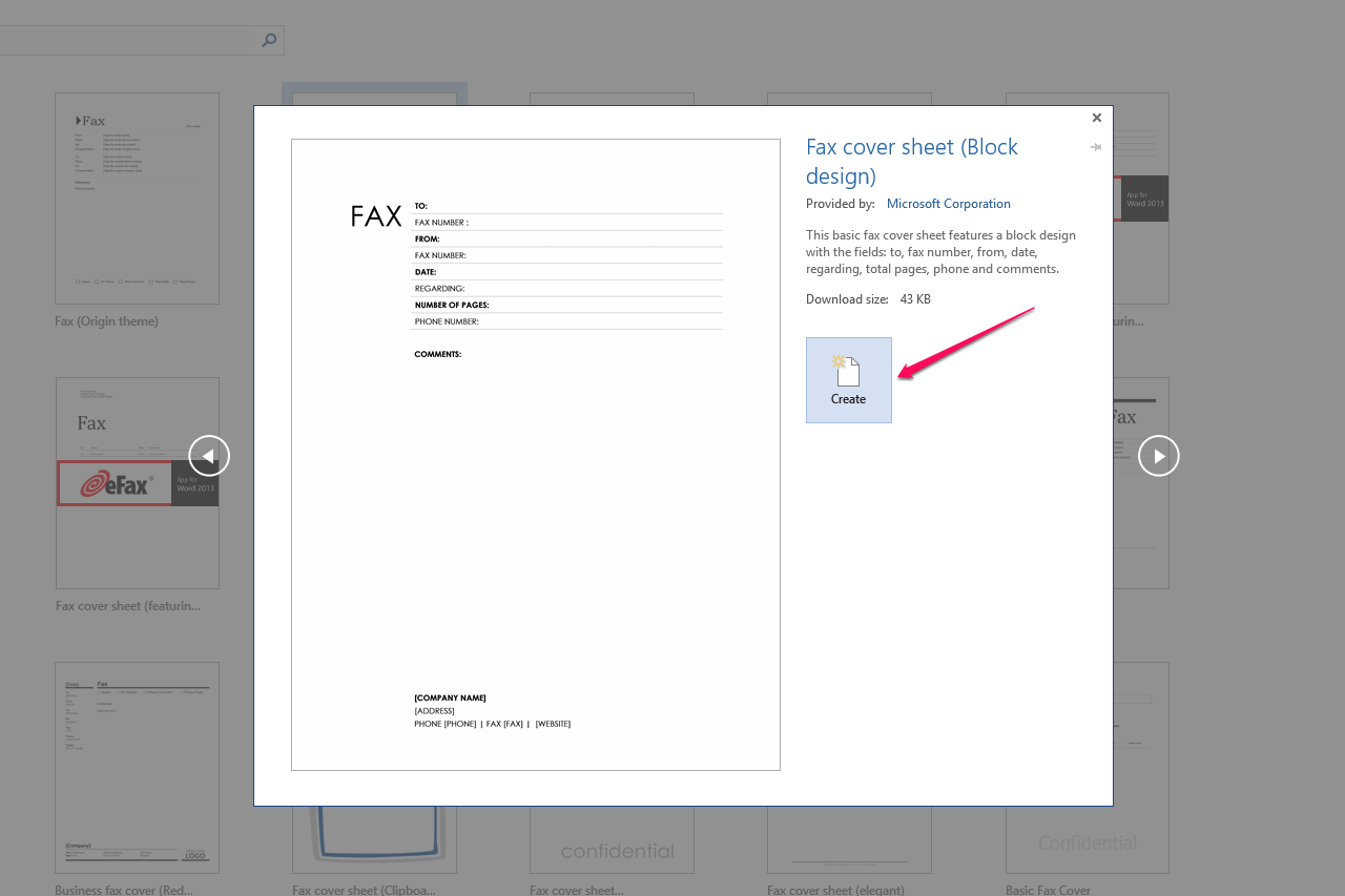 how can i get to the blank fax coversheet in microsoft word 4