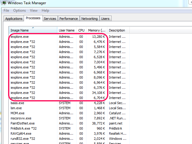 Windows Task Manager lists the number of currently running iexplore.exe processes.