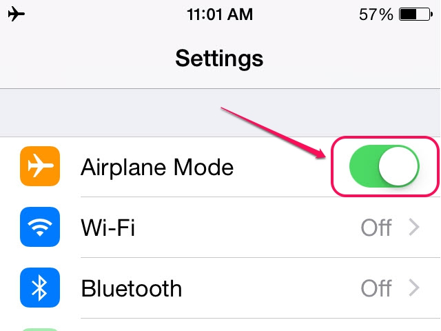 Airplane Mode disables all wireless connections.