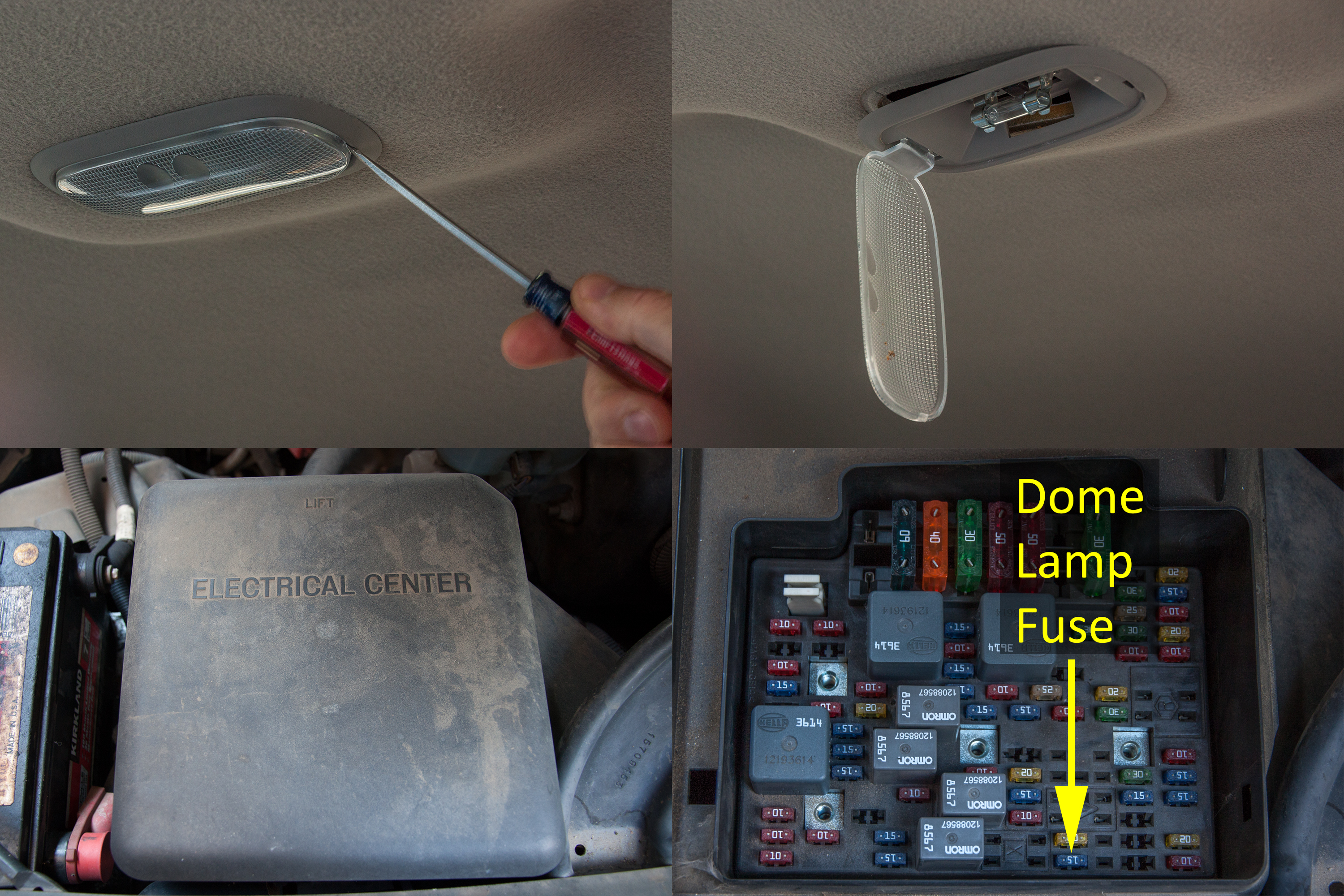 how to make the dome light come on in a chevy truck