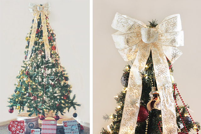 How To Make A Christmas Tree Topper Bow Ehow