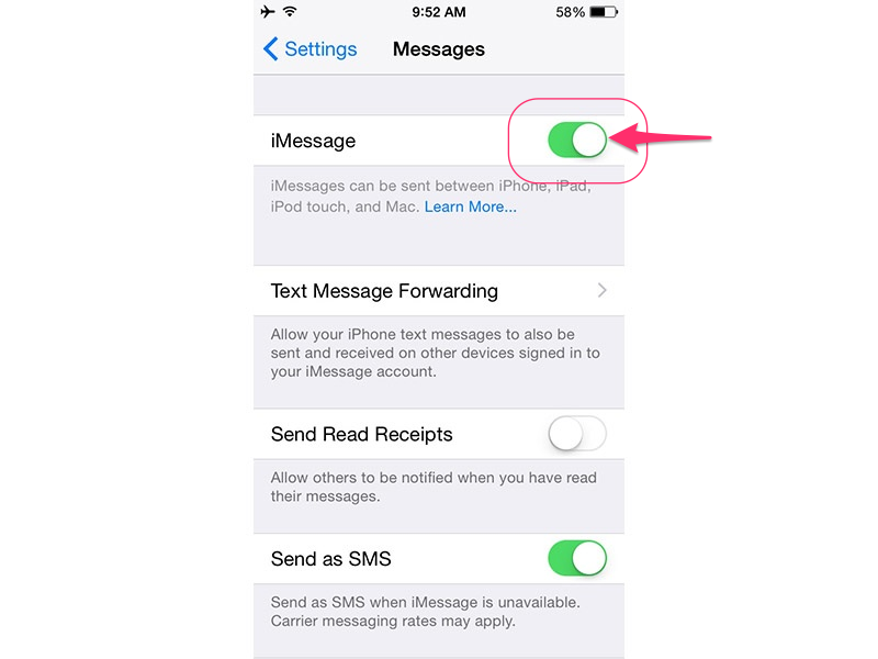 Toggle iMessage off and on