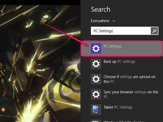 The Search menu, with PC Settings highlighted.