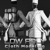 Low poly cloth modeling animation