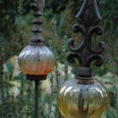 decorational glass bulbs in the garden
