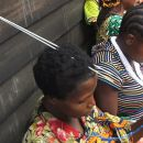 Knitting lessons at Medecins Sans Frontieres Village d'Accueil.  Masisi - Democratic Republic of the Congo.
