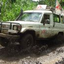 Medecins Sans Frontieres ambulance on the road.  Masisi - Democratic Republic of the Congo.
