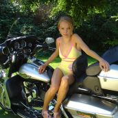 Pretty blonde on a Harley