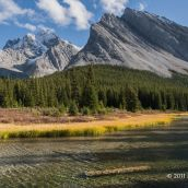Elbow River Sparkles With Mount Rae Watching - Kananaskis Alberta - Canadian Rockies