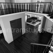 Living Room Interior Stairs Design View - YantramStudio
