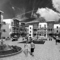 The area of a pre-development Exterior Courtyard Design View