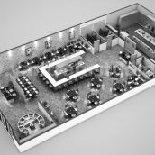 Fully Modern Bar 3D Floor Plan Design Ideas By Yantram architectural design studio Melbourne, Australia