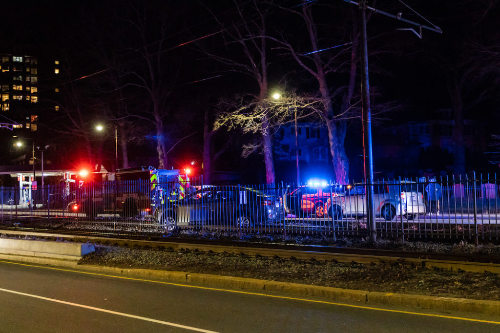 Car Crashes into MBTA Tracks on Comm. Ave.