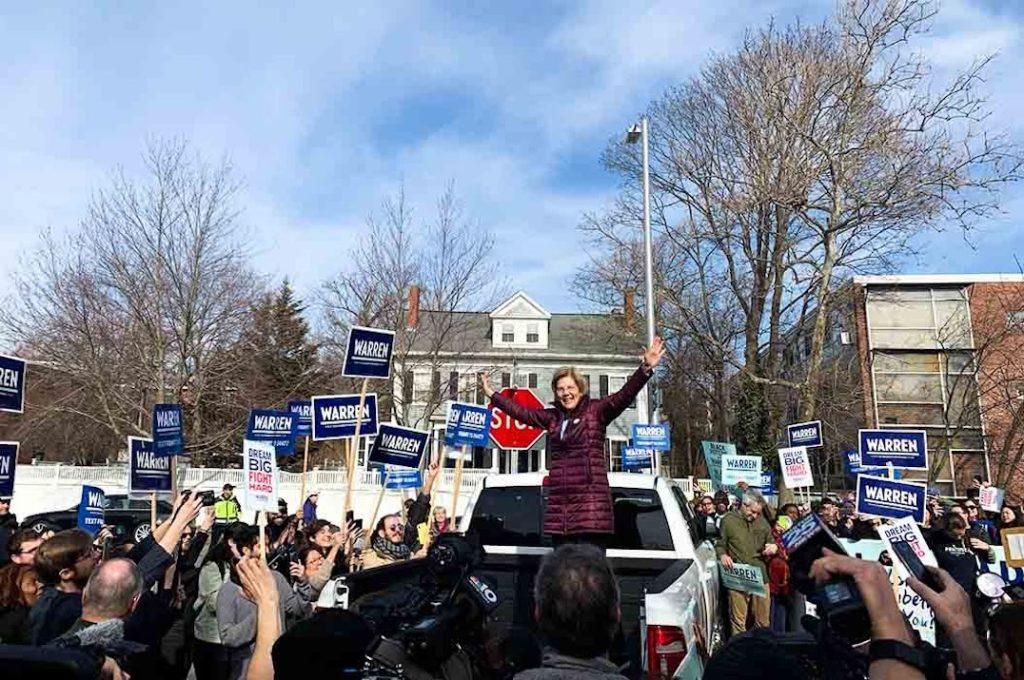 Warren Greets Supporters, Casts Vote in Cambridge