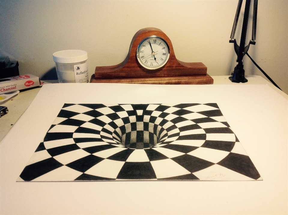 Amazing 3d checked blackhole drawings
