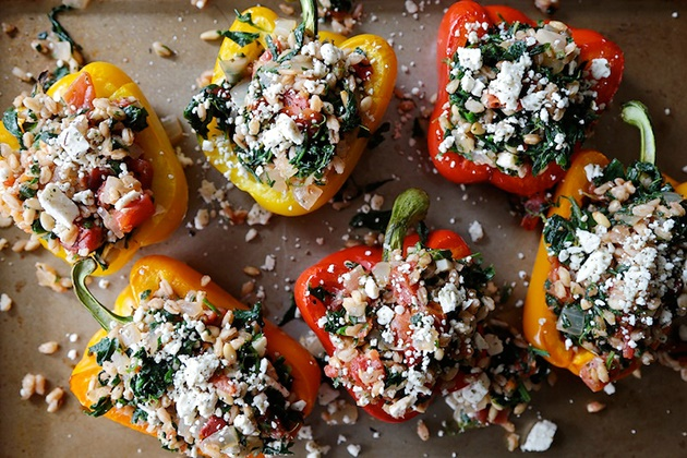 Greek Stuffed Peppers with Feta & Spinach
