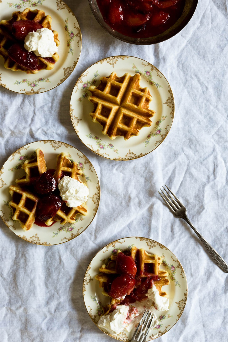 Buttermilk waffles with sweet summer plums