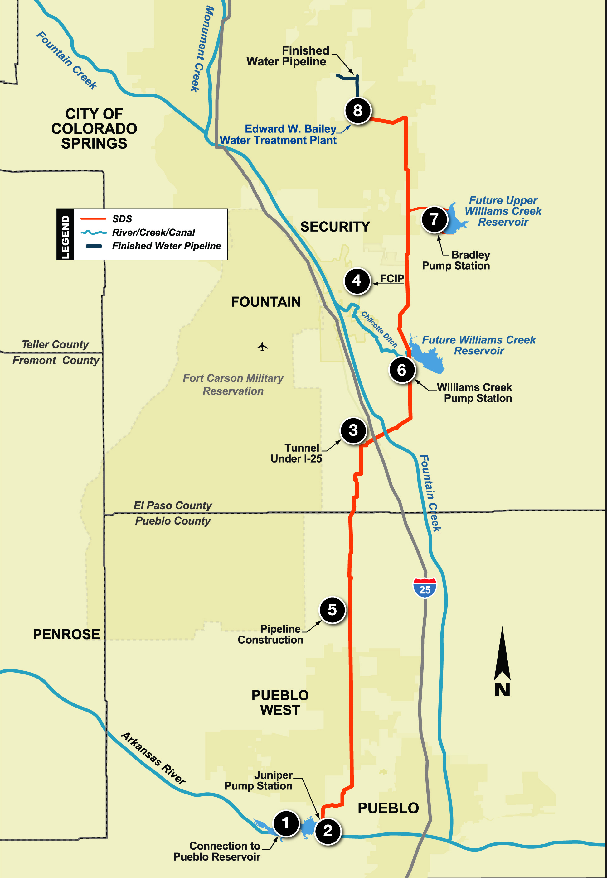 Southern Delivery System Alignment Map Colorado Springs Gazette - Map of southern colorado