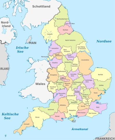 Map Of England Showing Cornwall.Counties Of England United Kingdom