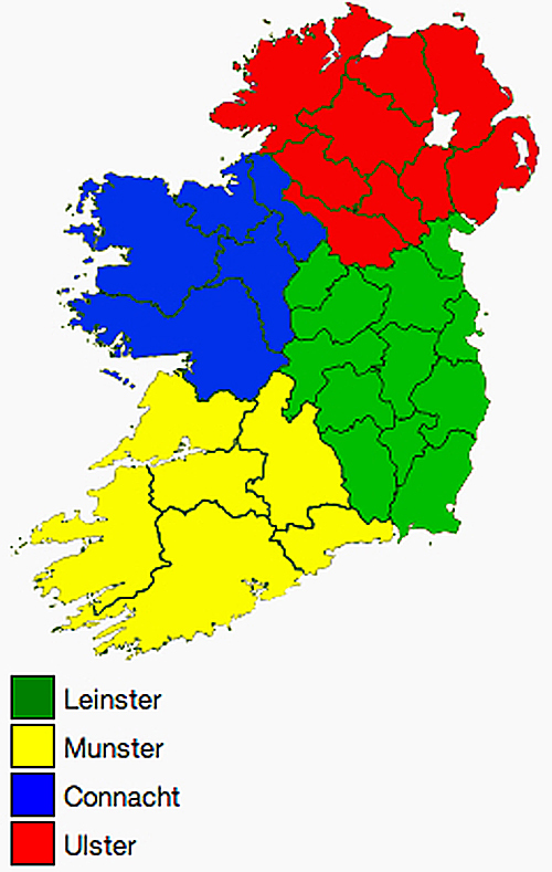 Map With Counties Of Ireland.Counties Of The Republic Of Ireland