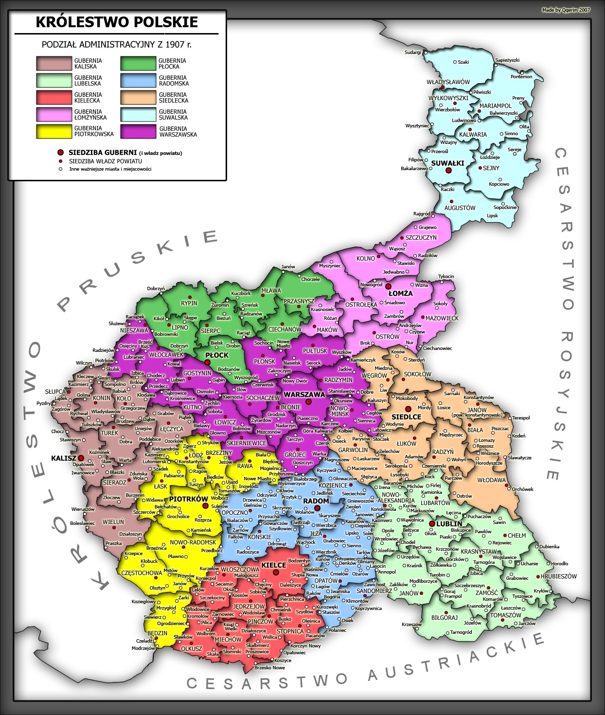 Administrative division of Congress Poland, 1907