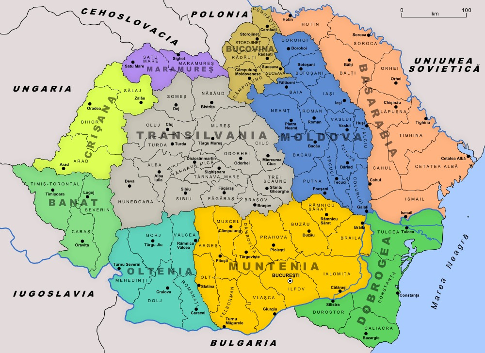 Regions of Greater Romania