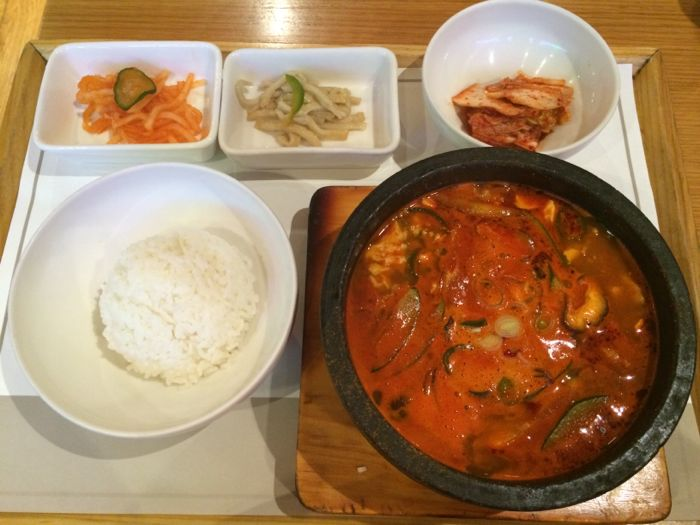 Spicy Korean tofu soup with pork