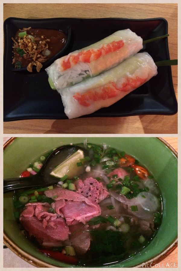 Spring roll and beef pho