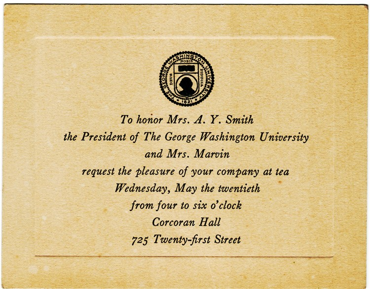 Invitation to Tea at GWU in honor of Mrs. A.Y. Smith 1931