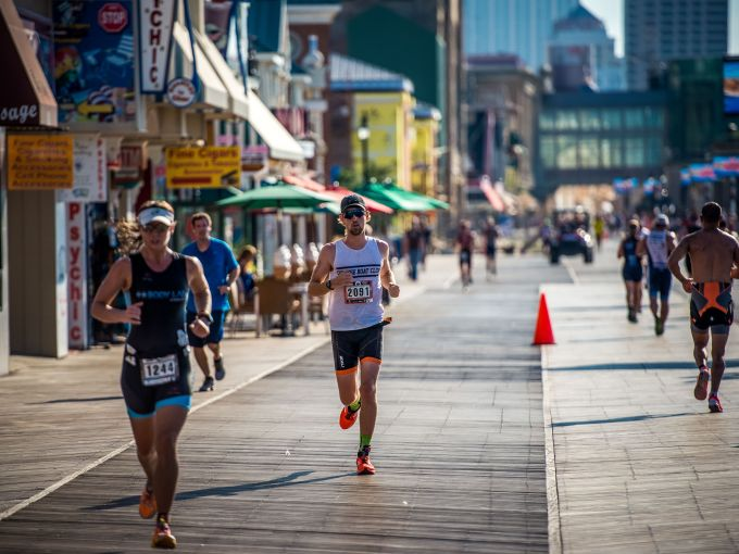 Athletes, Running, Boardwalk, Atlantic City, Triathlon, Endurance, Race ,Event
