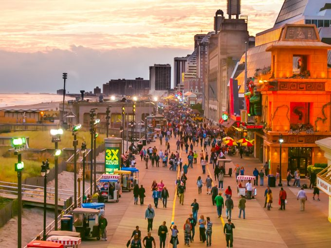 Atlantic City, Atlantic City beach, Atlantic Ocean, Boardwalk, Rolling Chairs, sunset, skyline, crowd, famous, historic