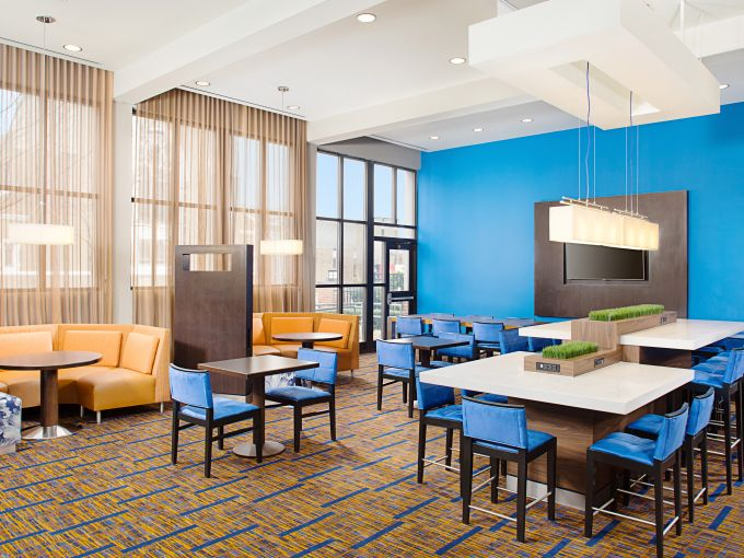 Courtyard by Marriott, Atlantic City, Hotel, Lobby, Bar, Restaurant, Fireplace, Seating Area