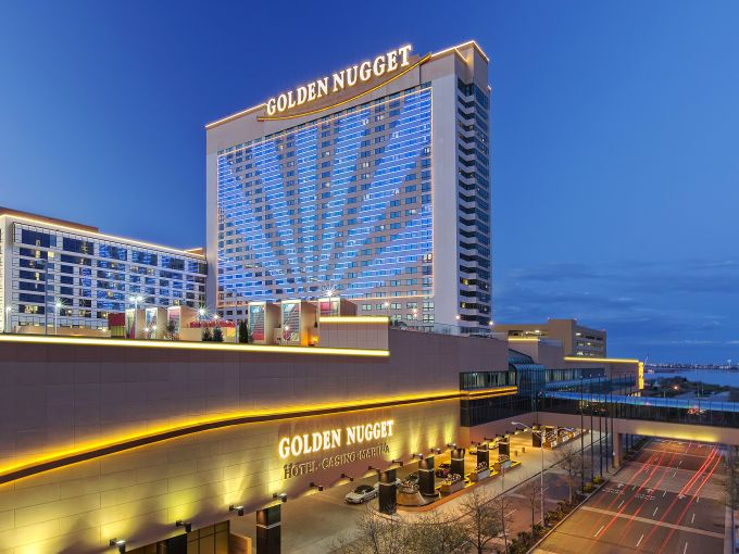 Golden Nugget, Casino, Aerial,  Exterior, Marina District, Atlantic City, dusk