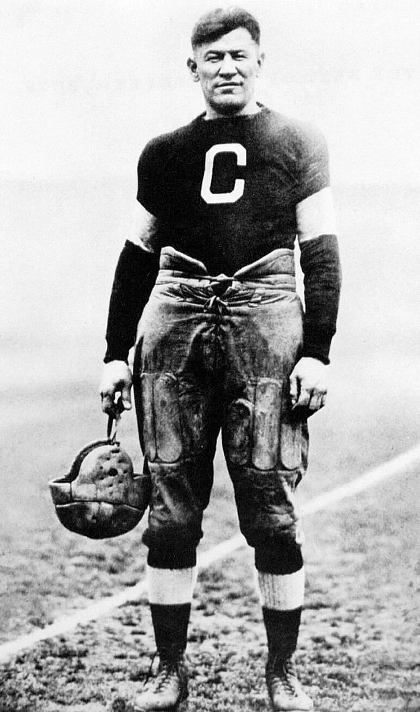 Jim Thorpe is shown in his Carlisle football uniform.