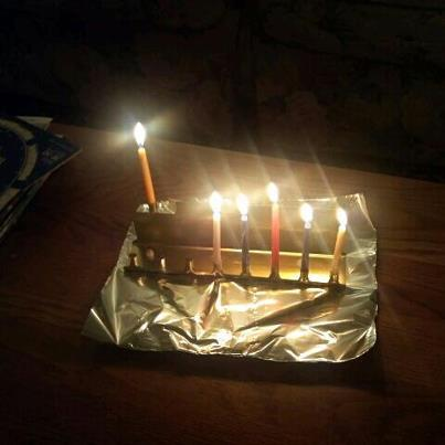my cheap, tin menorah