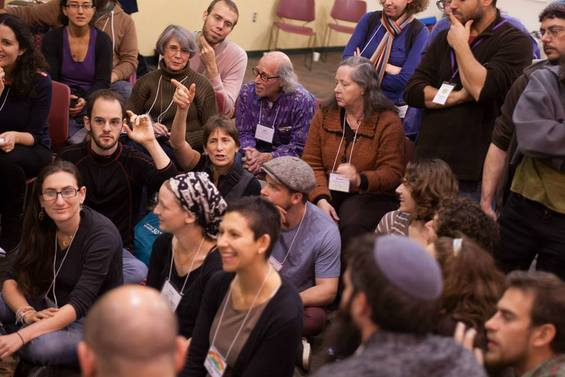 Participants at the Jewish Intentional Communities Conference, planning together. (Photo credit: Levi Gershkowitz)